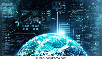 internet aansluiting, in, buitenste ruimte
