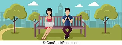 Internet Addiction Concept Vector in Flat Design - Internet...