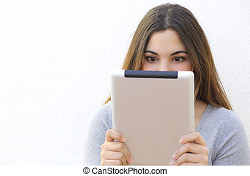 Internet addiction woman reading a tablet reader