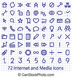 Internet and Media user interface icons set. Single...