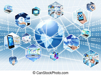 Internet and Multimedia - Internet multimedia concept with...