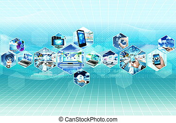 Internet multimedia concept with all gadget and computers connected to each other
