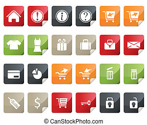 Internet and Online Shopping Icon Set. Tag and Label Style
