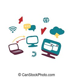 Internet and web icons. Hand drawn vector doodles.