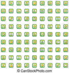 green icons set isolated on white