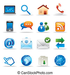 internet and website icons - new media and social network ...