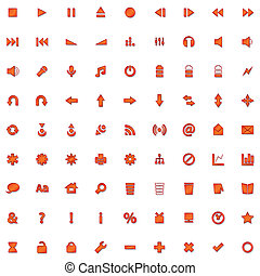 red icon set isolated on white