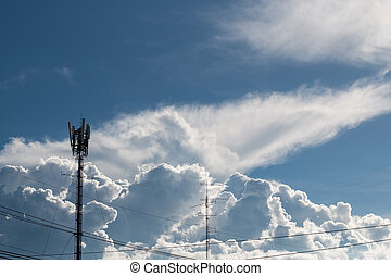 Internet antenna with clouds in the sky today