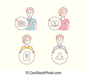 Internet, Attachment and Accounting report icons. Download sign. Vector
