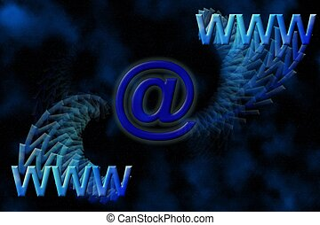Internet background - Space background with WWW and email...