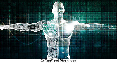 Internet Background with Binary Code and Vitruvian Man