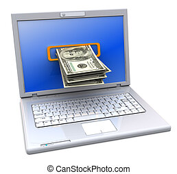 internet banking - 3d illustration of laptop computer with...
