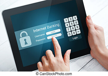 Internet banking concept - Female hands using tablet pc for...