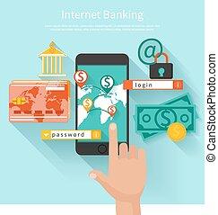 internet bankwesen, und, sicherheit, deponieren, begriff