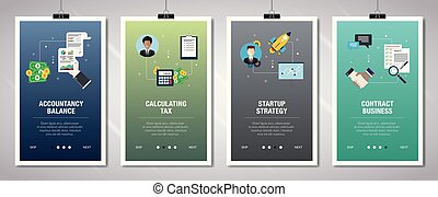 Internet banner set of accountancy, tax and startup icons. -...
