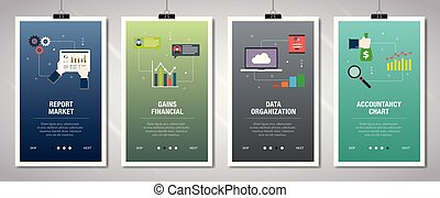 Internet banner set of report, accountancy and organization...