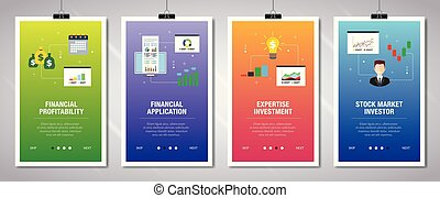 Internet banner set with financial profitability and ...