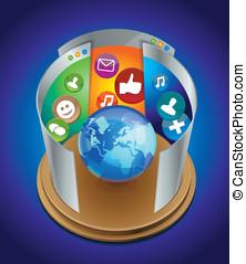 internet, begriff, -, erdball, und, hell, webseiten