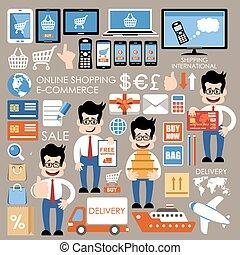 internet bevásárlás, e-commerce, online bevásárlás, set.