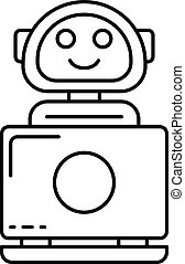 Internet bot icon, outline style
