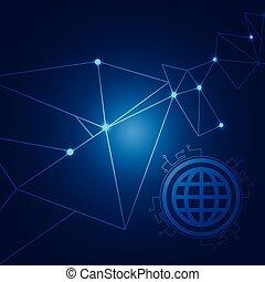 Internet Browser Polygonal Technology Blue Background Vector Image