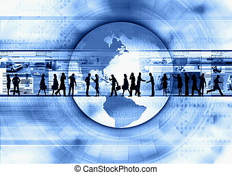 Internet Lifestyle illustrated with people doing activity in futuristic virtual world.