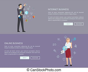 Internet Business Collection Vector Illustration
