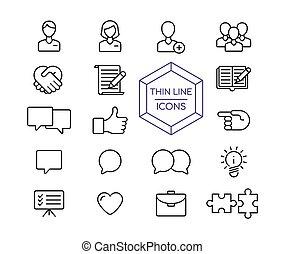Internet business line icon set for web marketing