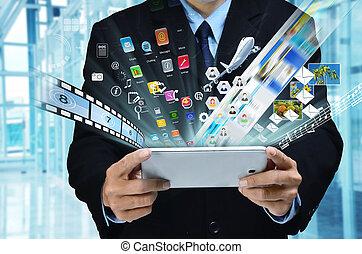 Internet Business Series - A businessman accesing internet...