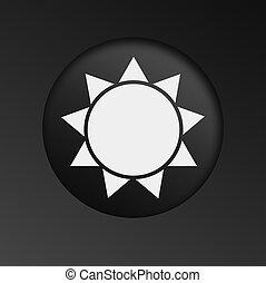 Sun Icon on Round Black Button.