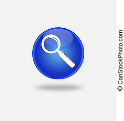 Magnifying Glass Icon on round blue button.