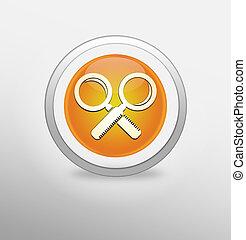 Magnifying Glass Icon on round orange button.