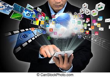 internet, by, begreb branche