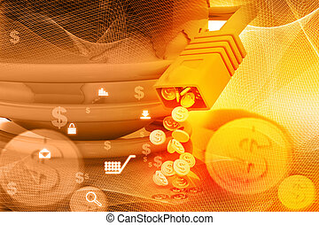 Internet cables with dollar coins , make money online