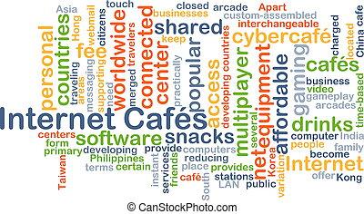 Internet cafés background concept