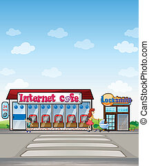Internet cafe and locksmith shop