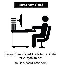 Internet cafe - Kevin visits the Internet Cafe cartoon...