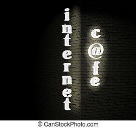 Internet cafe sign