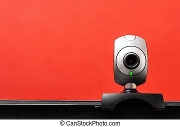 Internet camera on laptop computer looking around, online...