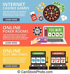 Internet casino games flat concept
