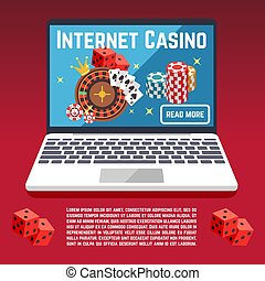 Internet casino page template with dice, poker, cards