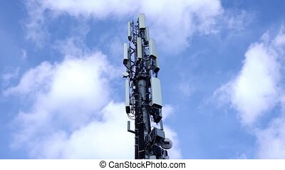 internet, cellule, transmet, signal, antennes, closeup, tour