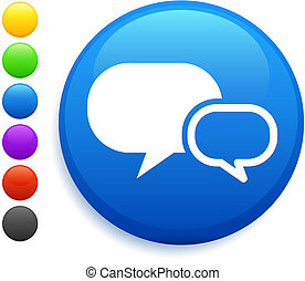 internet chat icon on round internet button