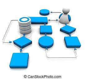 internet  - 3d illustration of network