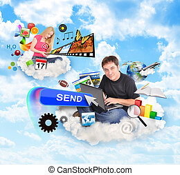 Internet Cloud People with Technology Icons - A men and a...