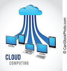 internet cloud, vector image - Cloud computing with leptop, ...