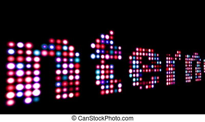 Internet colorful led text over black