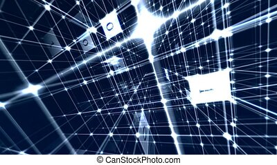 Internet communication encryption. Internet network...