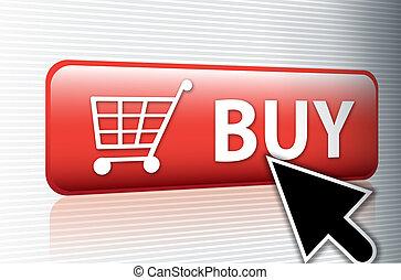 internet, comprar, botón