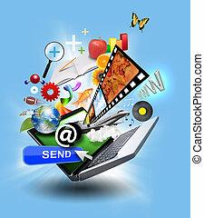 internet, computadora, computador portatil, con, medios, iconos